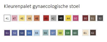 Kleurenpalet gynaecologische stoel